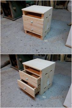 Pallet Nightstand with Drawers