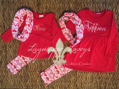 Three piece girls valentines heart ruffle outfits, embroidered and personalized  by Lagniappe Loveys on Facebook (http://www.facebook.com/lagniappeloveys)