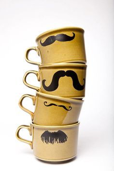 I mustache you for another cup of coffee. I Love Coffee, My Coffee, Coffee Shop, Coffee Cups, Coffee Van, Comme Des Garcons, Mellow Yellow, Tea Mugs, Mug Cup