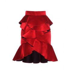 Balmain Ruffled Velvet Miniskirt ($1,545) ❤ liked on Polyvore featuring skirts, mini skirts, red, ruffle mini skirt, balmain, mini skirt, frilly skirt and red skirt