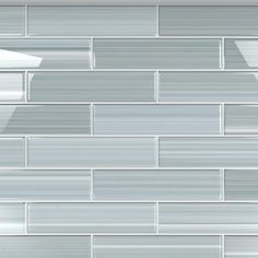 Bodesi Heron Gray 3 in. x 12 in. Glass Tile for Kitchen Backsplash and Showers sq./per - The Home Depot Gray Kitchen Backsplash, Glass Tile Backsplash, Kitchen Tiles, Glass Tile Bathroom, Backsplash Panels, Kitchen Board, Kitchen Cupboards, Master Bathroom, Blue Glass Tile