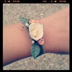 Ribbon-tied Wrist corsage by BloomingLoopy.com - in Ivory and Salmon Pink - around £10 each (hand-sewn and made to order)