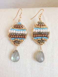 Turquoise and Gold Beaded Earrings