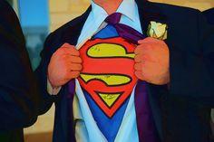 Superhero shirts under tuxedos for groomsmen. Wedding at St Elizabeth Ann Seton, by Ivey Photography.