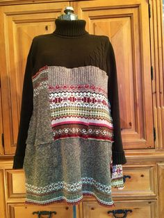 Upcycled Rustic Bohemian Patchwork Sweater Tunic Dress Woodland Shabby Cabin Chic Size large