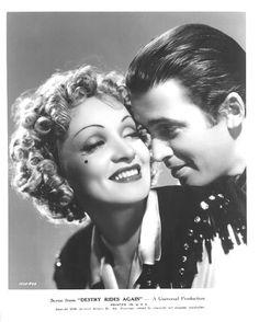gayorion: Great publicity still - shot of Marlene Dietrich and James Stewart in Destry Rides Again, 1939.