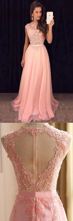 New Pink Prom Dresses,Scoop Neck Chiffon Party Gowns,Tulle Sweep Train Formal Dresses,Appliques Lace Long Evening Dresses
