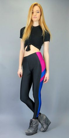 Vintage 80s 90s High Waisted Shiny Spandex Stretch Skinny Pants Black Neon Pink Bight Blue Color Block Shiny Bike Leggings Running Workout Fresh Prince of Bel Air by BlueFridayVintage on Etsy