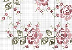 Olá Amigas, Adoro rosas bordadas em ponto cruz por isso, resolvi aproveitar o gráfico já postado aqui no blog para fazer um esquema para ...