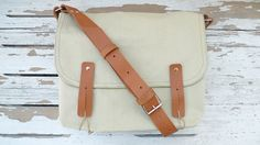 Christmas Sale 10% Off - Canvas Bag Light Green Single Leather Strap Shoulder bag / Cross Body Messenger / School / Travel / Laptop bag. $79.00, via Etsy.