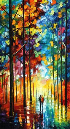 "DATE IN THE PARK — PALETTE KNIFE Oil Painting On Canvas By Leonid Afremov - Size 24""x40"""
