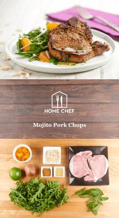 When you're Havana tough day, orange you glad to come home to a simple, delicious meal? Inspired by the classic Cuban cocktail, the sweet, herbal flavor from the mojito lime seasoning on these pork chops is definitely no joke. Served next to a refreshing salad of arugula and mandarin oranges, this meal offers healthy, satisfying eats without any punny business.