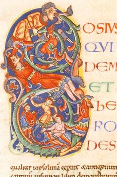 Illuminated initial with decoration incorporating a dragon, a man trampling on another whilst clutching a bird, Cain's sacrifice, and Cain slaying Abel