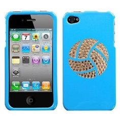 Light Blue and White Crystal Rhinestone Bling Bling Volleyball Sport for At Sprint Verizon Iphone 4 Iphone 4s 16gb 32gb Snap on Hard Plastic Durable Cover