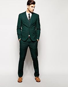 Enlarge ASOS Slim Fit Suit Dark Green Pindot