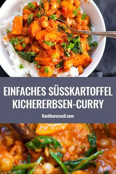 Sweet potato and chickpea curry with spinach minutes!) - cooking carousel - Sweet potato and chickpea curry with spinach. This recipe is simple, cuddly and perfect f - Potato Recipes, Veggie Recipes, Vegetarian Recipes, Dinner Recipes, Cooking Recipes, Healthy Recipes, Zone Recipes, Healthy Food, Spinach Recipes
