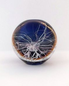 Skrdlovice Petr Hora 1980s-- spherical blue sunburst glass vase -- Czech art glass