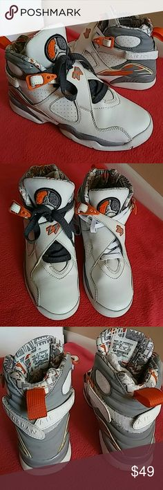 Nike Air Jordan Retro 8 Stealth Orange. SIZE 6.5Y..or SIZE 8 WOMEN ...or SIZE 6.5 MEN..Shoes shows signs of use but in great shape. No tear, no dark spots and no rips...and no discoloring as well. It is rated 7/10...and 200% Authentic nike product . Nike Shoes Sneakers