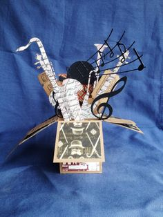 Pop Up Box Card Gift Box Exploding Box 3D with Musical instruments art deco card in a box  music