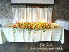 イエロー系メインテーブル装花 Wedding Images, Blog Entry, Flower Designs, Table Decorations, Board, Flowers, Room, Home Decor, Mesas