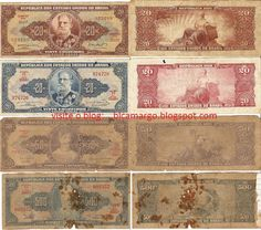 As notas abaixo circularam nos anos 40-50-60 e 70(início). A de maior valor, a molecada não via nem o cheiro. Cr$ 20,00 (Marechal Deodoro) - Cr$ 50,00 (Princesa Isabel) - Cr$ 500,00 (D.João VI)