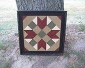 PriMiTiVe Hand-Painted Barn Quilt, Framed 2' x 2' Harvest Star Pattern. $65.00, via Etsy.