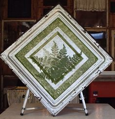 hand-painted antique ceiling tile