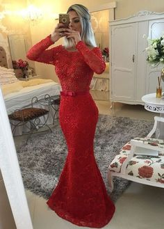 Memraid Long Sleeve Red Lace Beaded Prom Dress With Bow Sash