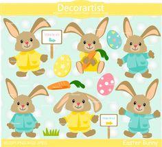 Easter clip art bunny clip arteaster egg by Decorartistclipart
