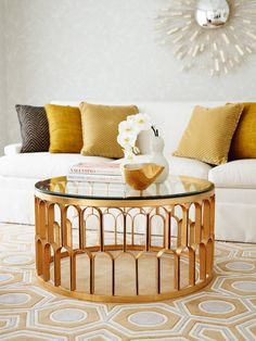 Greg Natale Coffee Table Medium Gold Glass - JAMES SAID