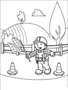 printable cartoon bob the builder coloring pages printable coloring pages for kids clipart pinterest sarjislapsi ja polkkatukat - Construction Signs Coloring Pages