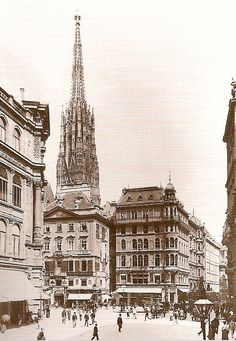 """The """"Stock-im-Eisen"""" square around 1865, view from Graben. On the left you can see St. Stephans behind a house and on the right is """"Singerstrasse""""."""