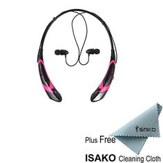 Bluetooth Headphones,ISAKO® Universal HBS-760 Wireless Music A2DP Stereo Bluetooth Headset Vibration Neckband Style Headphone Earphone Waterproof for IPhone6/6Plus,Iphone5/5s,Samsung,iPad,iPod,LG,HTC,Blackberry,Android Tablet and Enabled Bluetooth Devices(Black+Pink) ISAKO http://www.amazon.com/dp/B00VT2MA60/ref=cm_sw_r_pi_dp_RK9Fvb0NP1HTQ