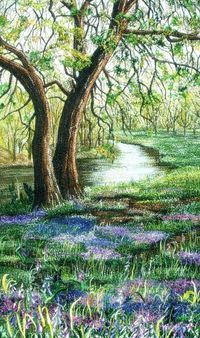 Embroidered Landscape ~ by Mitra McQuilton - (thread painting, needlework)