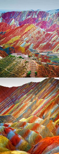 """The incredibly colorful """"rainbow mountains"""" they're part of the Zhangye Danxia Landform Geological Park in Gansu, China. The rainbow mountains became a UNESCO World Heritage Site in Places In America, Places Around The World, America America, Beauty Around The World, Around The Worlds, Rainbow Mountains China, Colorful Mountains, Peru Mountains, Places To Travel"""
