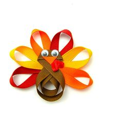 Turkey Hair Clip, Turkey Clip, Turkey Hair Bow, Turkey Ribbon Sculpture, Clippie, Autumn Colors Baby Toddler Girl. $4.50, via Etsy.