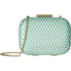 Jessica McClintock Roxi Perforated Minaudiere (Mint/Gold) Handbags ($31) ❤ liked on Polyvore featuring bags, handbags, clutches, gold, mint handbag, chain strap purse, man bag, perforated handbags and blue clutches