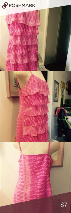 """Pink Dress Layered at the front. Spaghetti strap pink dress.zipper on the left side for closure.35"""" bust line; 39"""" hips. From armpit down measured 24"""" long , with adjustable shoulder straps. Two color combination, dark and light pink in layered. Dresses"""