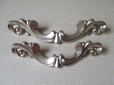 "5"" Cabinet Pull Handles / Dresser Pulls Knobs Handles Antique Silver / Drawer Pull Handles Knob / Vintage Furniture Door Handle Hardware 128"