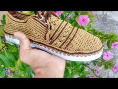 Alpargata de hombre tejida a crochet UNISEX MODELO CURY segunda parte - YouTube