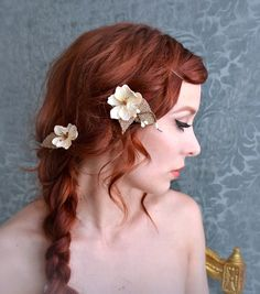Wedding hair pins, floral clips, ivory flower bobby pins, woodland wedding hair accessories