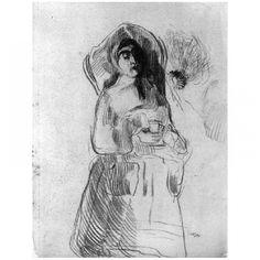 Vrouw met kap en een wesp. 1885, tekening, James Ensor