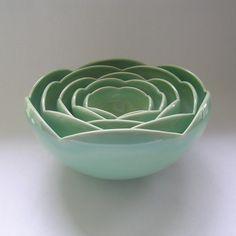 Five Nesting Ranunculus Rose Flower Ceramic Bowls in Green. via Etsy. Pottery Bowls, Ceramic Bowls, Ceramic Pottery, Ceramic Art, Cerámica Ideas, Clay Bowl, Nesting Bowls, Pottery Classes, Ceramic Flowers