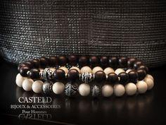 Bijoux pour hommes, le bracelet Bois ébène et le bracelet Blanc... Des créations CASTELD #bijoux #homme #tendance #style #mode http://www.casteld.com/bijoux-homme