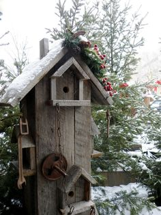 rustic birdhouse in the winter