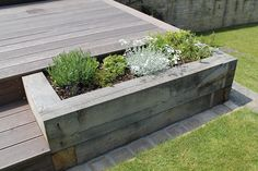 Millboard raised decking with raised planters using sleepers. - All For Garden Small Backyard Decks, Backyard Plan, Backyard Landscaping, Raised Deck, Raised Planter, Back Garden Design, Backyard Garden Design, Back Gardens, Outdoor Gardens