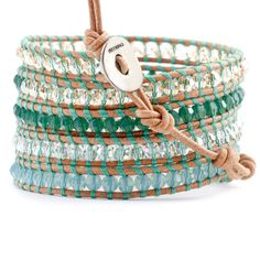 Chan Luu - Green Mix Crystal Wrap Bracelet on Beige Leather, $240.00 (http://www.chanluu.com/green-mix-crystal-wrap-bracelet-on-beige-leather/)