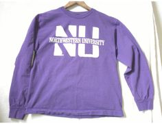 Northwestern University Purple and White Long-Sleeved T-Shirt Adult Size Medium, 100% Preshrunk Cotton by TwoThrifters on Etsy
