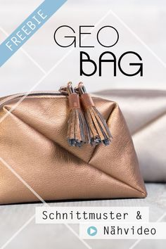 """Cosmetic bag """"Geo-Bag"""" - Sewing video and free sewing pattern for 2 sizes - TASCHEN Anleitungen Diy Bags Patterns, Sewing Patterns Free, Free Sewing, Pattern Sewing, Diy Bags Easy, Diy Bags No Sew, Geo Bag, Bag Sewing, Origami Bag"""