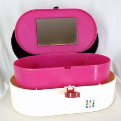 Vintage 90s CABOODLES Makeup Case Fold-Out Mirror Travel Compartments Pink/Black #Caboodles